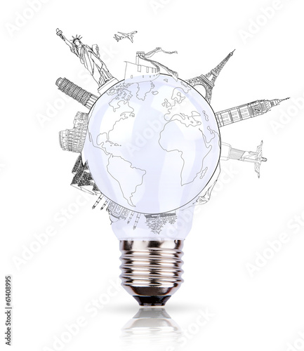 Bulb of World travel (Japan,France,Italy ,New York,India,egypt)