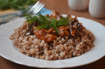 buckwheat with meat and mushrooms