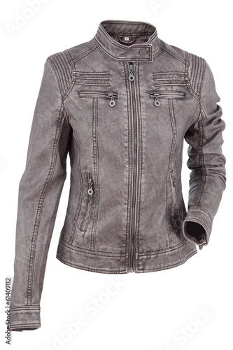 Woman leather jacket isolated on a white background