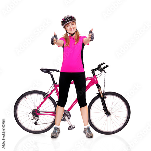 cyclist girl holding the bicycle thumbs up