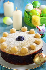 Easter cake and basket with colorful eggs.