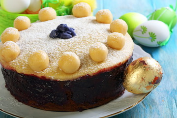 English Easter cake closeup.