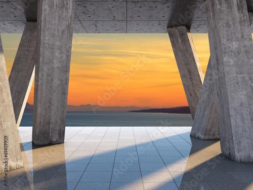 Leinwanddruck Bild Architectural design of the terrace