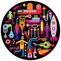 Celebration - round vector illustration