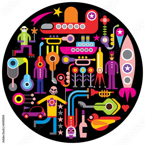 Celebration - round vector illustration
