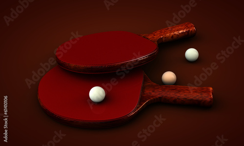 Ping pong paddles and balls on a background