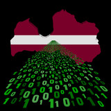 Latvia map flag with binary foreground illustration