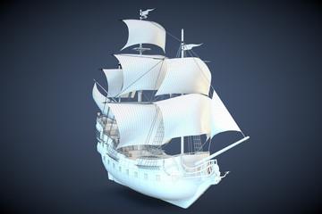 3D Modell Galeone Blaupause Segelschiff