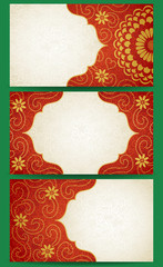 Vintage cards with flowers and curls. Background vector design.