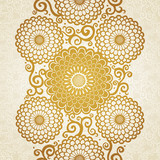 Golden seamless border with large flowers and curls.