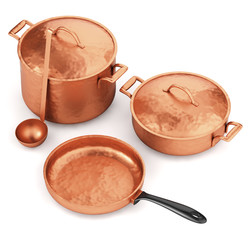 Copper cookware isolated on white
