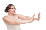Plus size woman making refuse gesture