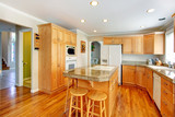 Bright light brown kitchen room