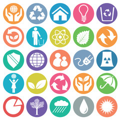 Ecology icon set circle flat