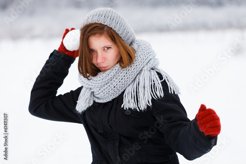Frightening Attack from Cute Girl in Winter