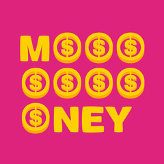golden text money on pink background