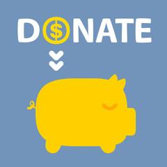text donation above golden piggy