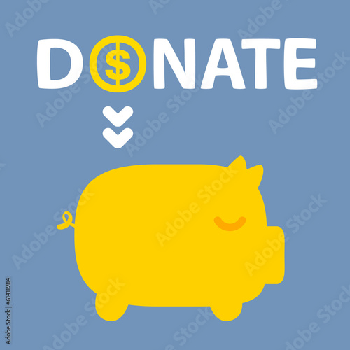 text donation above golden piggy