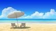 Beach chair and umbrella on sand beach.Travel, holidays, resort.