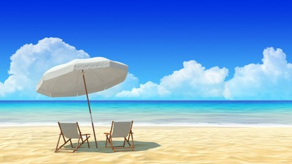 Beach chair and umbrella on sand beach.Travel, holidays, resort.