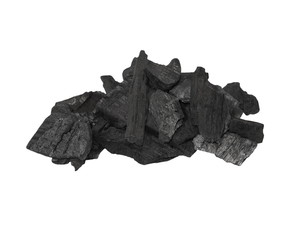pile charcoal isolated on white, xylanthrax, wood coal