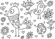 Spring Birds and Bugs Doodle Vector Set