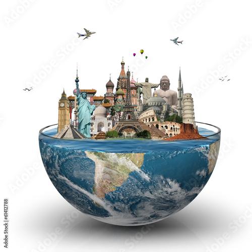 Leinwanddruck Bild Travel the world monuments concept