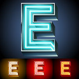 Realistic neon tube alphabet for light board. Letter E