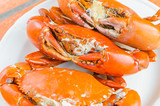 Grilled Crab on white plate