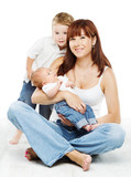 Young family portrait, smiling mother kid and newborn baby