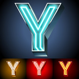 Realistic neon tube alphabet for light board. Letter Y