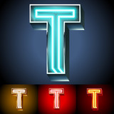 Realistic neon tube alphabet for light board. Letter T