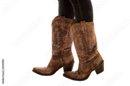 4969455083c Close up of a pair of cowboy boots white background