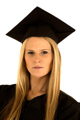 portrait of a female college graduate in cap and gown