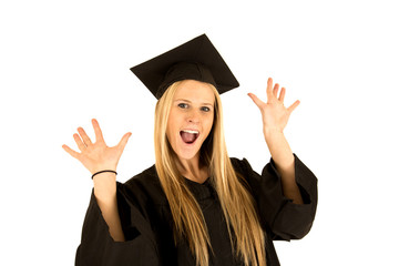 Portrait of cute female caucasian model graduate celebrating
