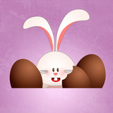 Bunny with chocolate Easter eggs
