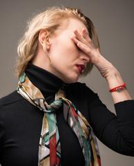 Woman suffering from headache
