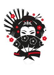 Eine Geisha mit einem Fächer