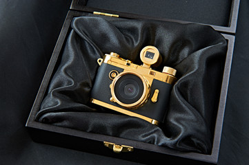 Gift golden camera in a wooden box