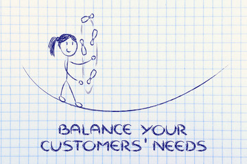balancing and managing customers' needs: funny girl juggling