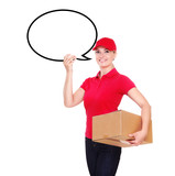 Delivery girl holding speaking bubble blank