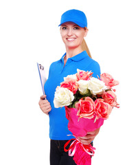 Flowers delivery girl in blue uniform