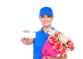 Flower delivery girl closeup portrait