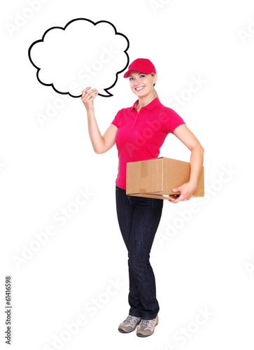 Delivery girl holding bubble blank full length