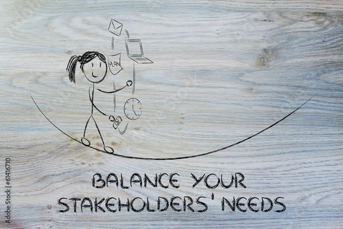 balancing your stakeholders' needs: juggling with pc, document,