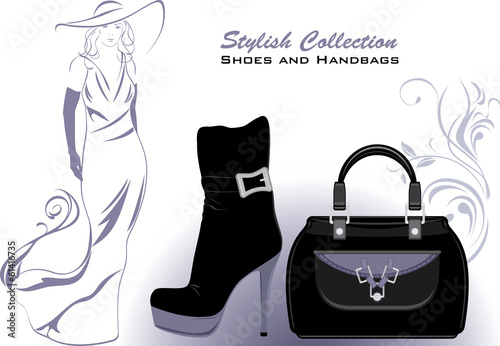 Stylish collection. Shoes and handbags