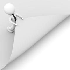 omino bianco che alza un foglio