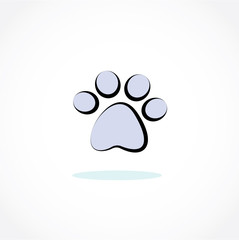 blue pet paw vector