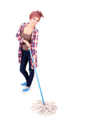 cleaner woman with mop, white background