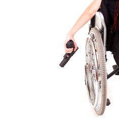 woman on wheelchair with gun, white background